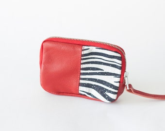 Zipper pouch red and zebra leather,coin purse,zipper phone case,money bag,credit card zip purse- The Myrto Zipper pouch