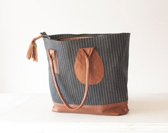 Market bag,tote purse in stripe blue jeans and Brown leather - Kallisto bag
