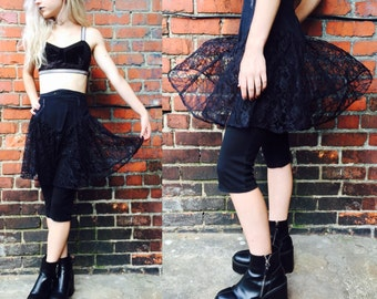 Vintage 80s Black Lace Skirt with Pants
