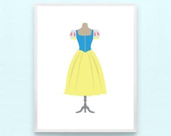 LIMITED TIME // Disney Snow White Inspired Princess Girl Nursery Art Princess Print - Minimalist Wall Art, Kids Playroom, Seven Dwarves