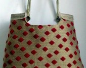 SALE - Orange tapestry hobo bag with burlap // large