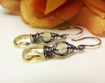 Lemon Quartz Prehnite Earrings Sterling Silver, ccsdesigns01