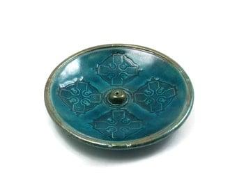 Incense Burner CELTIC CROSS Handmade Raku Pottery