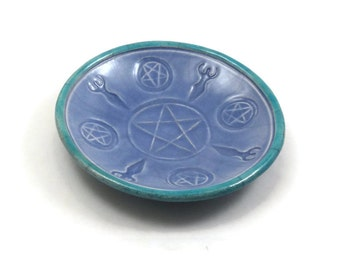 RAKU Pentagram Goddess Offering Bowl Handmade Ceramic Pottery