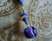 Antique Czech Glass Beaded Flapper Necklace Purple and Amber Braided Trim Lamp Pull Tassel Holder Old Store Stock 1920's