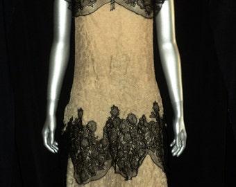 1920's Art Deco Silk Lace Flapper Dress Gatsby Cream and Black Cap Sleeves Full Tiered Skirt Scalloped Hem Drop Waist