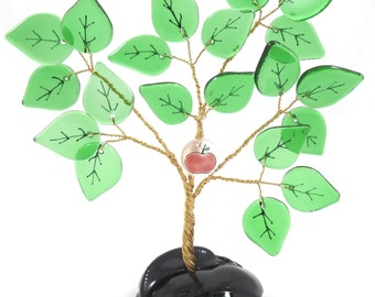 50% OFF SALE! Recycled Bottle Glass Tree, Bonsai Vintage Style Ming Tree, Green Leaves with Apple Charm