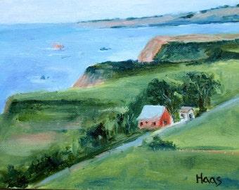 IRISH BEACH BARN - 6 x 8 - Oil Painting - Original - Hanging - California Coast - Honeystreasures - Ocean Landscape - Seaside - Home Decor