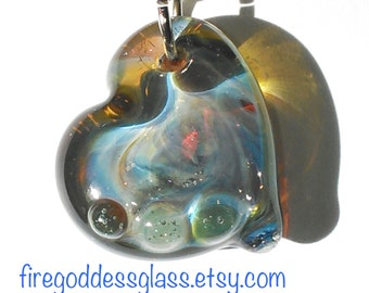 Borosilicate Glass Heart Pendant- Pyrex Glass Heart Necklace - Anniversary or Valentine's Gift Handmade by FireGoddess Glass - Free Shipping
