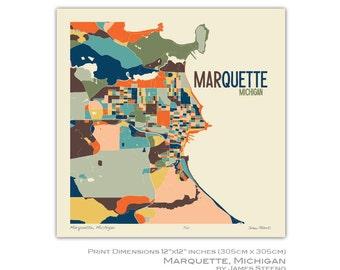 Marquette, Michigan Art Map Print (Marquette County) by James Steeno