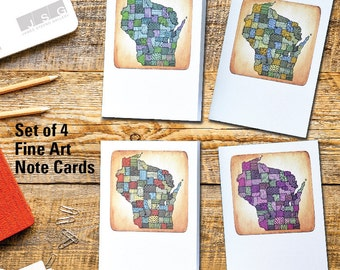 Wisconsin Patterns Note Card Set of 4