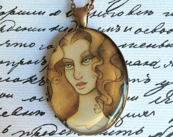"Handmade ""Nuala"" Antiqued Copper Oval Resin Pendant, with Chain and Lobster Clasp"
