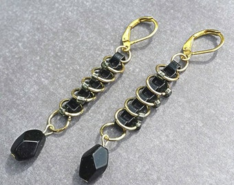 Earrings, Dangle, Black and Gold, Edgy