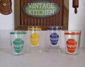 Vtg Homer Laughlin Hacienda Fiesta Mexicali Vase 4 pc Optic Glass Tumbler Set