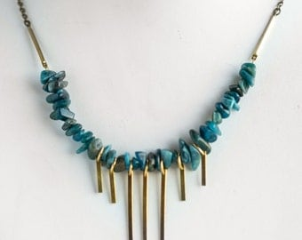 Kyanite Fringe Necklace | Brass Chain | N11630
