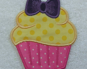 Iron on Cupcake Fabric Embroidered Iron On Applique Patch Ready to Ship