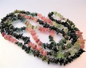 "Tourmaline Nugget Necklace 36"" Uncut Polished Vintage Jewelry Jewellery"