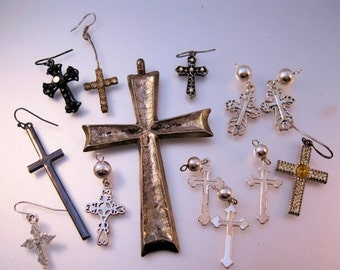 15% OFF SALE Vintage Lot of 13 Cross Pendant Charms for Jewelry Making Supplies Crafts