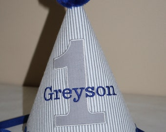 boys 1st birthday hat gray and white pinstripe seersucker with navy blue accents, boys first birthday hat, cake smash outfit, personalized