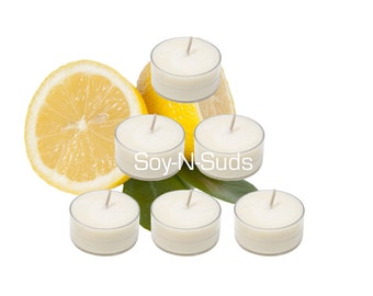 Soy Tea Lights, Soy Candles, LEMON ZINGER, Dye Free, T Lites, LEMON Candles, 6 Pack, White Candles, Scented, Spring Candles