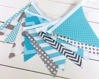 Bunting,Banner,Photography Prop,Fabric Flags,Baby Nursery Decor,Birthday Decoration,Garland,Pennant,Home Decor,Gray,Aqua Blue,Grey,Chevron