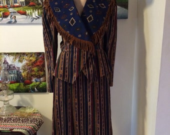 Vintage 80s Avant Garde Country Western Cowboy FRinge Maxi Skirt  Top Size Small
