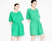 SALE 90s Green Jersey Knit Romper Slouchy Oversize High Waist Shorts Casual Cotton Playsuit M L XL
