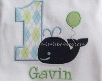 Whale and Balloon Birthday Shirt  Boys Whale Birthday Themed Birthday Shirt