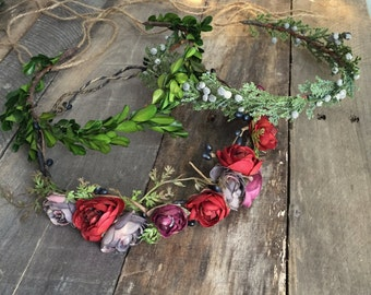 Head wreath, juniper crown, rustic hair piece, woodland crown, berry headpiece, hair accessories