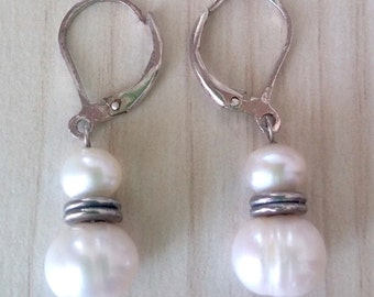 SALE...Elegant Pearl Drop French Hook Sterling 925 Earrings. Perfect Jewelry Gift. Gift for her. ETSY Gift