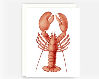 Red Lobster Note Card, Nautical Greeting Card, Sea Animals Note Card, Blank Greeting Card, Note Card A2