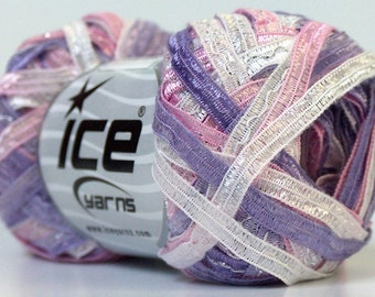 "White Pink Lilac Satin Ribbon Yarn Sparkle Thread Detail 50g 82Yx1/4""w Ice 24125"