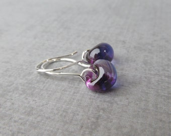 Small Grape Purple Earrings, Purple Dangle Earrings, Glass Drop Earrings Purple, Lampwork Earrings Silver, Sterling Silver Wire Earrings