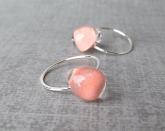 Light Coral Earrings, Peach Hoop Earrings, Coral Lampwork Earrings, Small Peach Earrings, Silver Hoops, Sterling Silver Wire Earrings