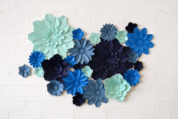 Handmade Four Colour Paper Flower Wall Display