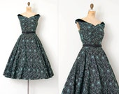 vintage 1950s dress / embroidered floral 50s party dress / Jersey Girl