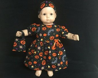 American Girl Bitty Baby Bitty Twin or Some Other 15 Inch Doll Clothes, Halloween Pumpkins Candy Bats Gold Sparkle Dress, Headband and Purse