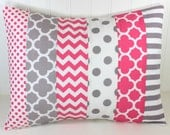 Throw Pillow Cover, Nursery Pillow Cover, Girl Nursery Decor, Playroom Pillow Cover, 12 x 16 Inches, Candy Pink, Pink, Gray, Grey