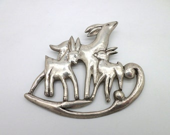 Huge Pin Brooch Silver Made in Mexico Fawn and Deer Make a Statement