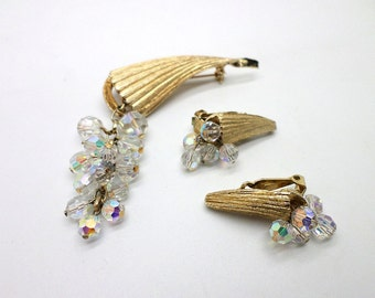 SALE Vintage Aurora Borealis Bead and Gold Tone Pin Brooch and Clip Earrings Set