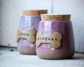 Ceramic pet treat canister, pet jar, treat jar, pet gift,  Ready to ship, Rose Quartz & Serenity