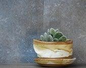 large ceramic planter, planter with dish, rustic planter pot, wedding gift, handmade ceramic planter