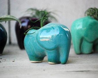 Air plant holder - Mini planter -  ceramic elephant - air plant pod - Mini Elephant - Air plant planter