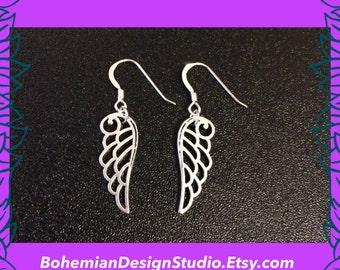 Angel wings earrings, silver wings charm earrings, angel charm jewelry, bohemian jewellery