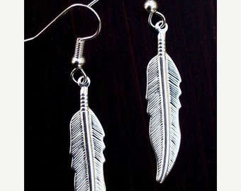 ON SALE SILVER Feather Earrings - Larger size- also available in gold