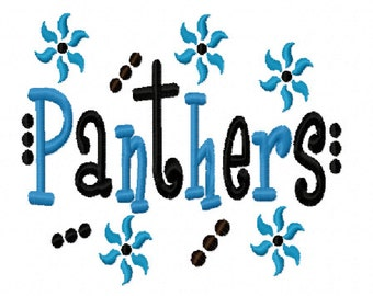 Panthers Applique Machine Embroidery Design 4x4 7x5 10x6 Carolina Super Bowl Team Instant Download Basketball Football Baseball Sports