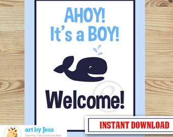Ahoy Mate Navy Whale It's a Boy Welcome Sign 8x10 PDF File INSTANT DOWNLOAD