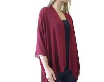Burgundy/Bordeaux Boho Kimono/ Kimono cardigan-Solid Burgundy/Bordeaux chiffon- Lagenlook chiffon kimono-Turquoise green Ruana