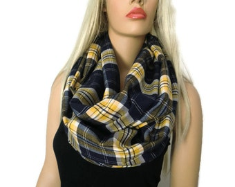 Navy Blue  and yellow plaid flannel infinity scarf,Extra long and wide/flannel  cowl /Navy blue ,yellow tartan Infinity Scarf