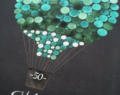 Destination Wedding Guest Book Valentine engagement gift - 100 Guest sign ons Anniversary guestbook Print - HOT AIR BALLOON painted by Elena